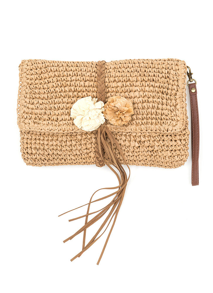 Boho Beautiful Straw Pom-Pom Clutch NUDE