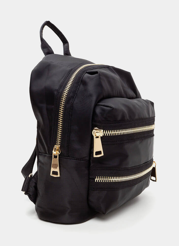 Set A Trend Chunky Zippered Backpack BLACK (Final Sale)