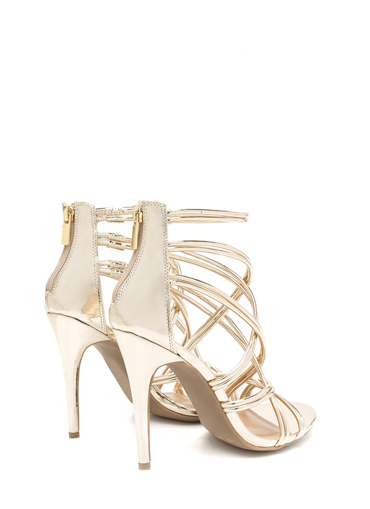 New Cage Metallic Stiletto Heels GOLD