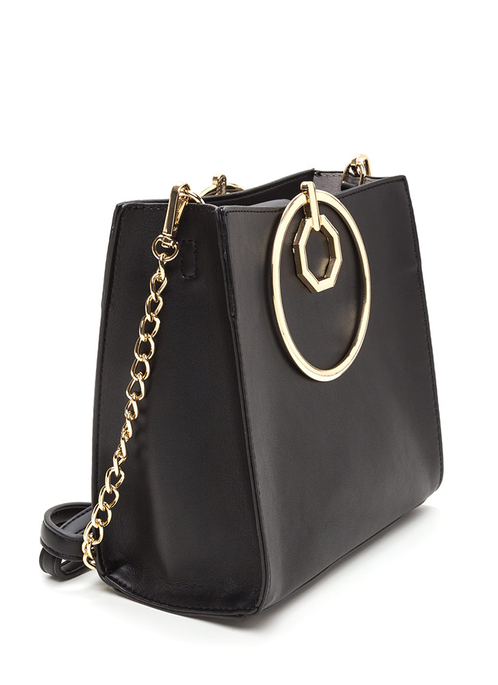 Square Away Faux Leather Ring Bag BLACK