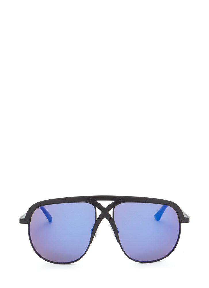 X Appeal Mirrored Oversized Sunglasses BLUEBLACK