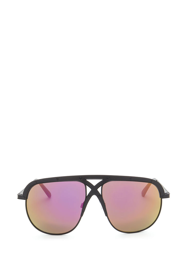 X Appeal Mirrored Oversized Sunglasses PURPLEBLACK