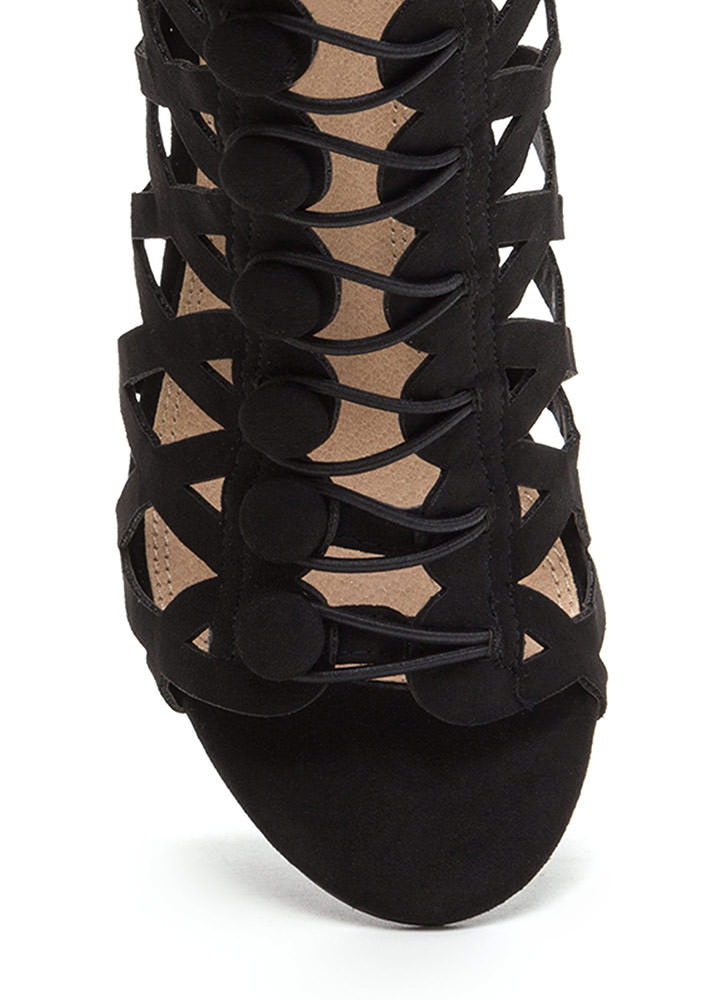 Chic Influencer Cut-Out Caged Heels BLACK