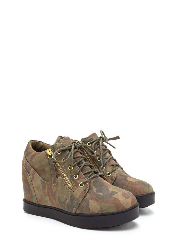 Camo Content Zippered Sneaker Wedges CAMOUFLAGE