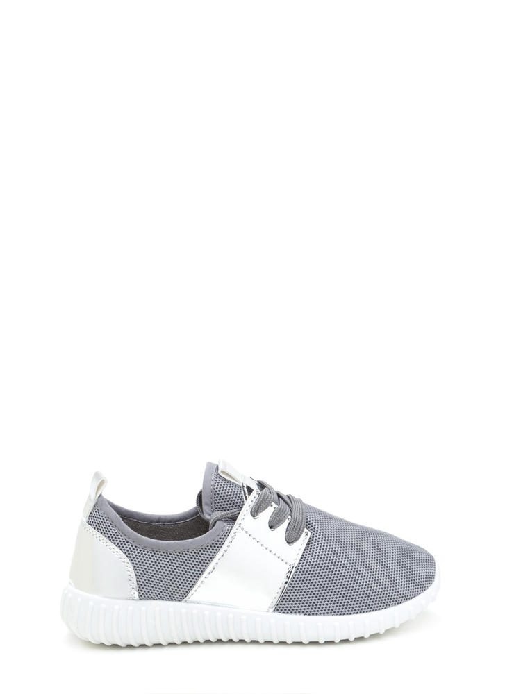 Show Your Metal Lace-Up Mesh Sneakers GREY