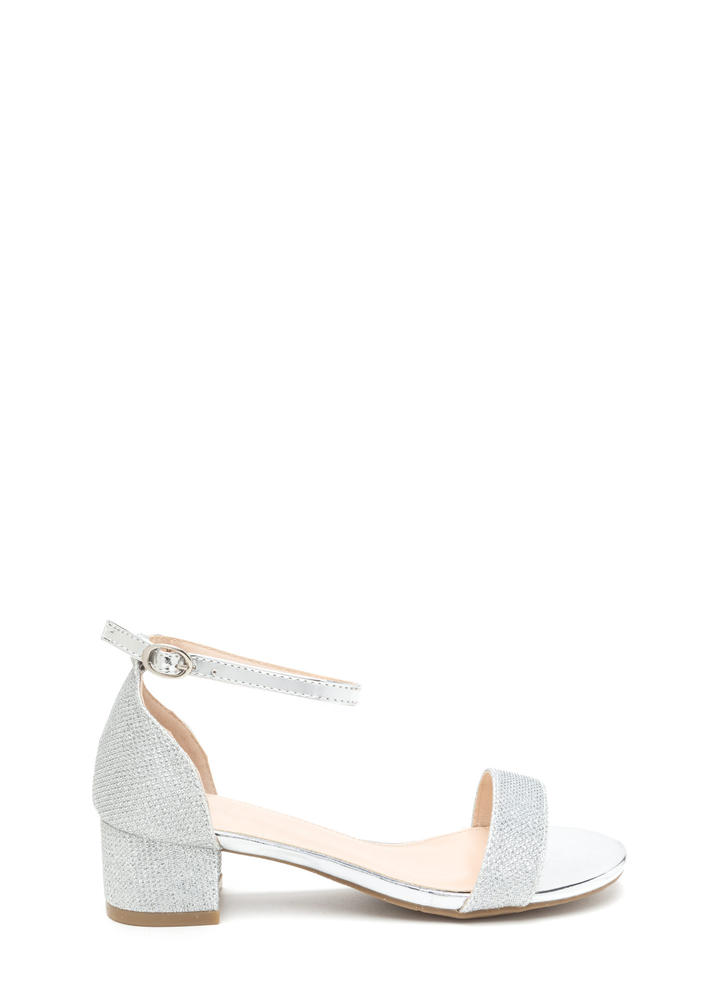 Glitz The Best Metallic Block Heels SILVER