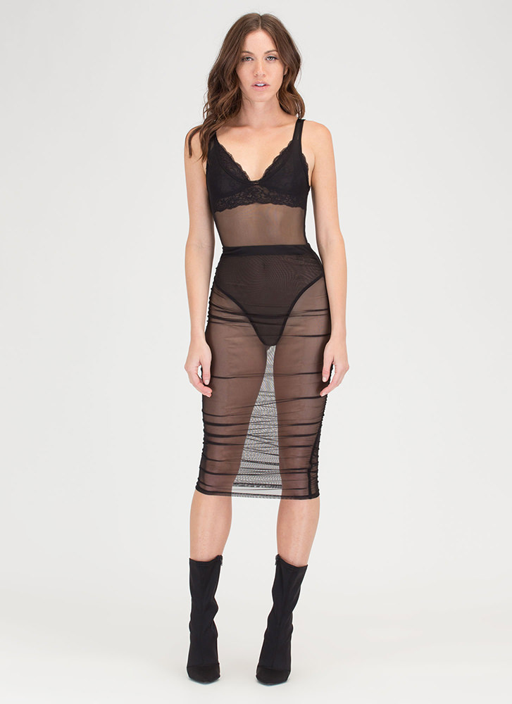 See Thru It All Ruched Sheer Mesh Skirt BLACK
