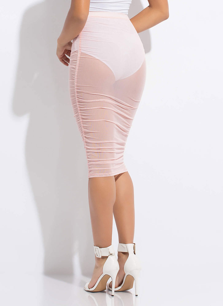 See Thru It All Ruched Sheer Mesh Skirt BLUSH