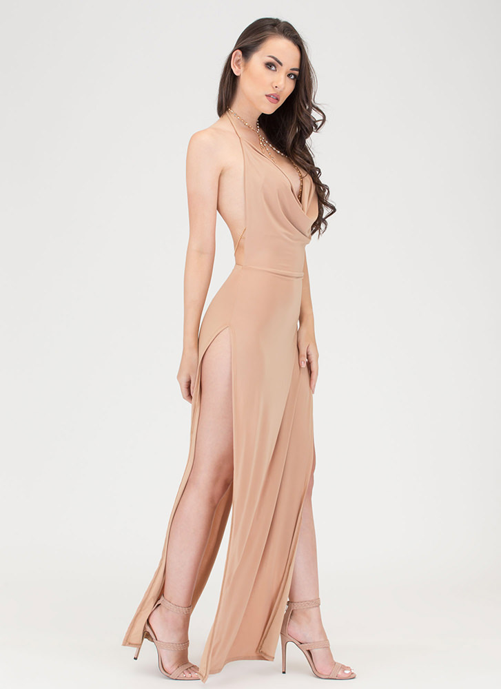 Sleek Finish Double Slit Maxi Dress NUDE