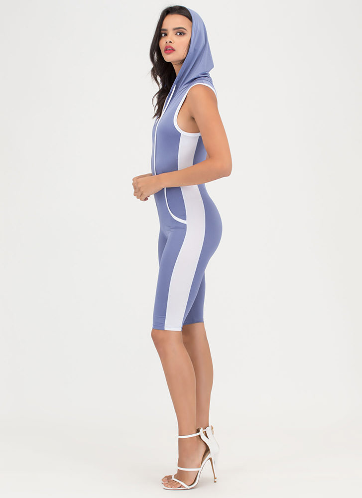 Sporting Chance Striped Hooded Jumpsuit BLUE