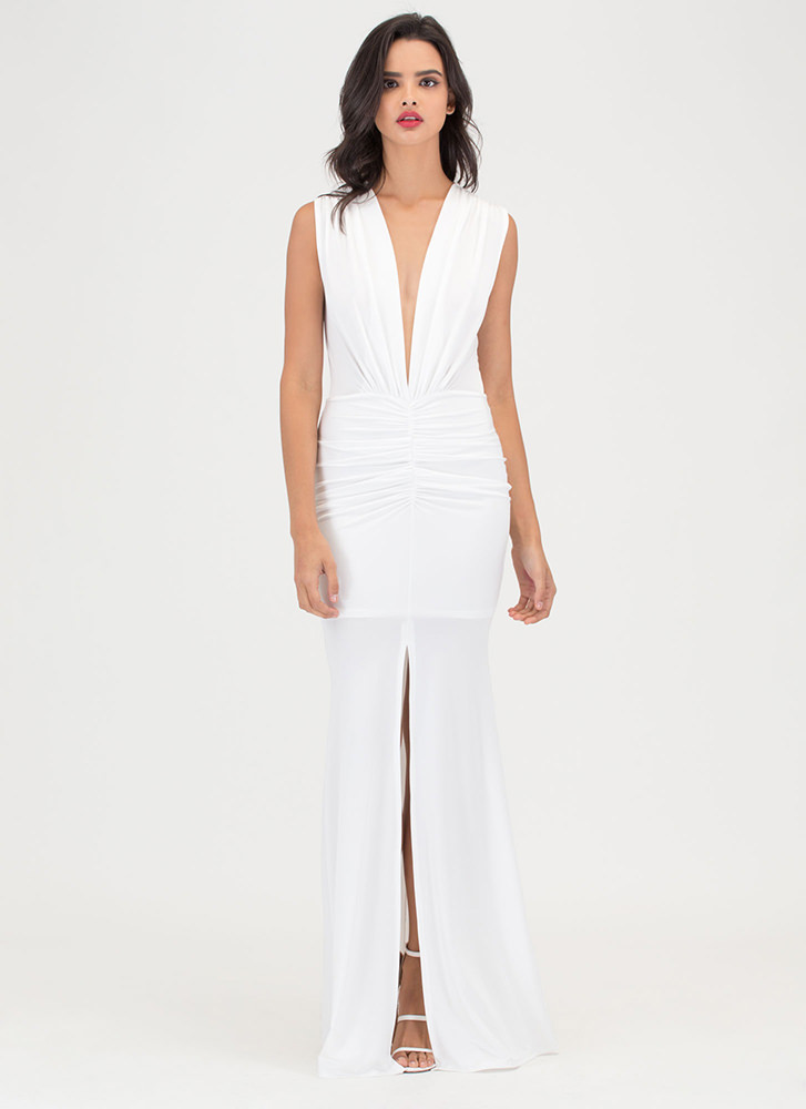 Plunge In Ruched Slit Maxi Dress WHITE