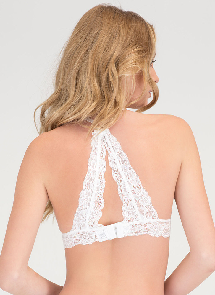 Triangle Defense Floral Lace Bralette WHITE
