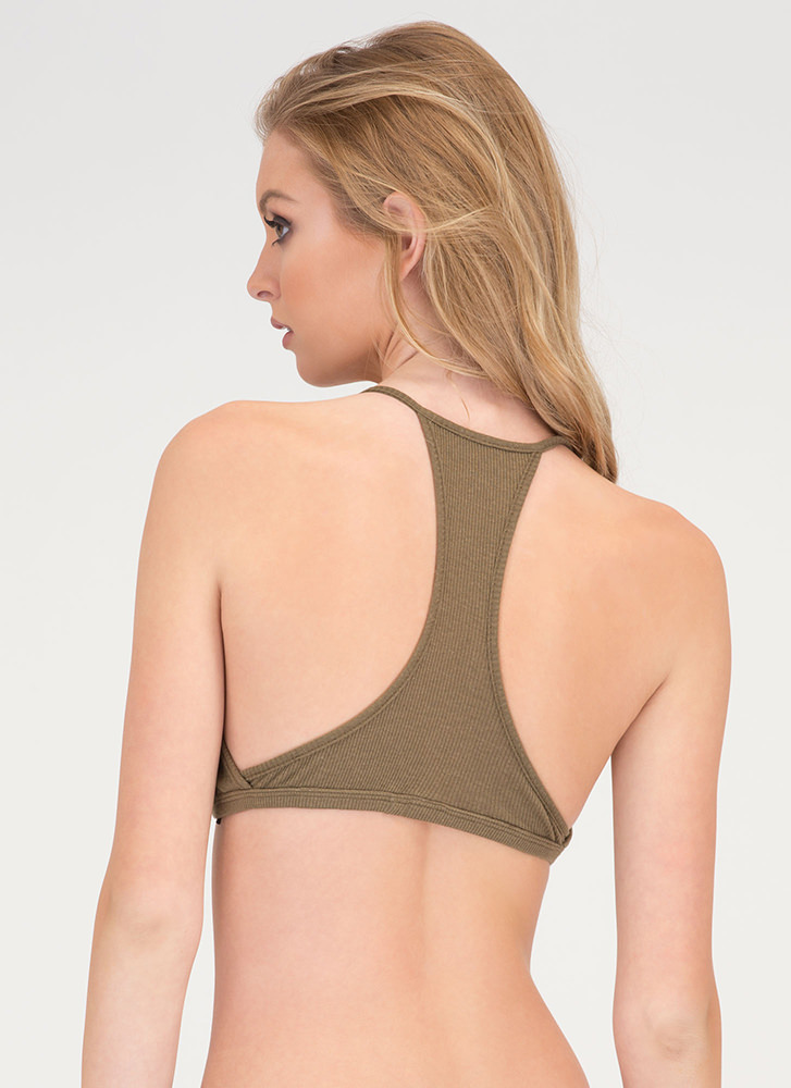 All For It Rib Knit Cropped Tank Top OLIVE