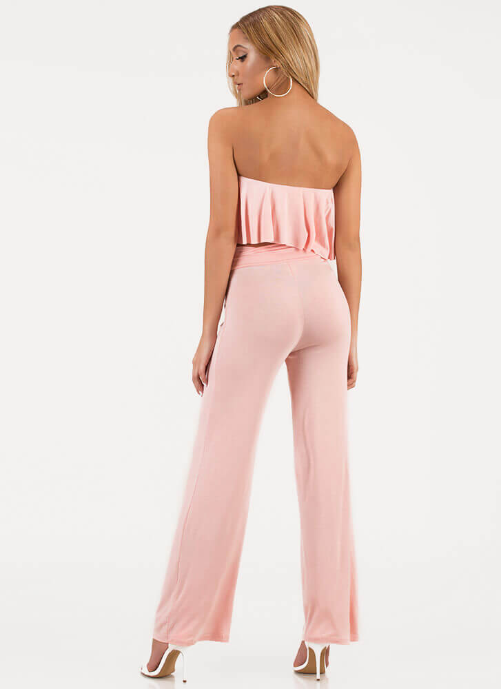 Easy Vibe Lace-Up Top 'N Pants Set PINK