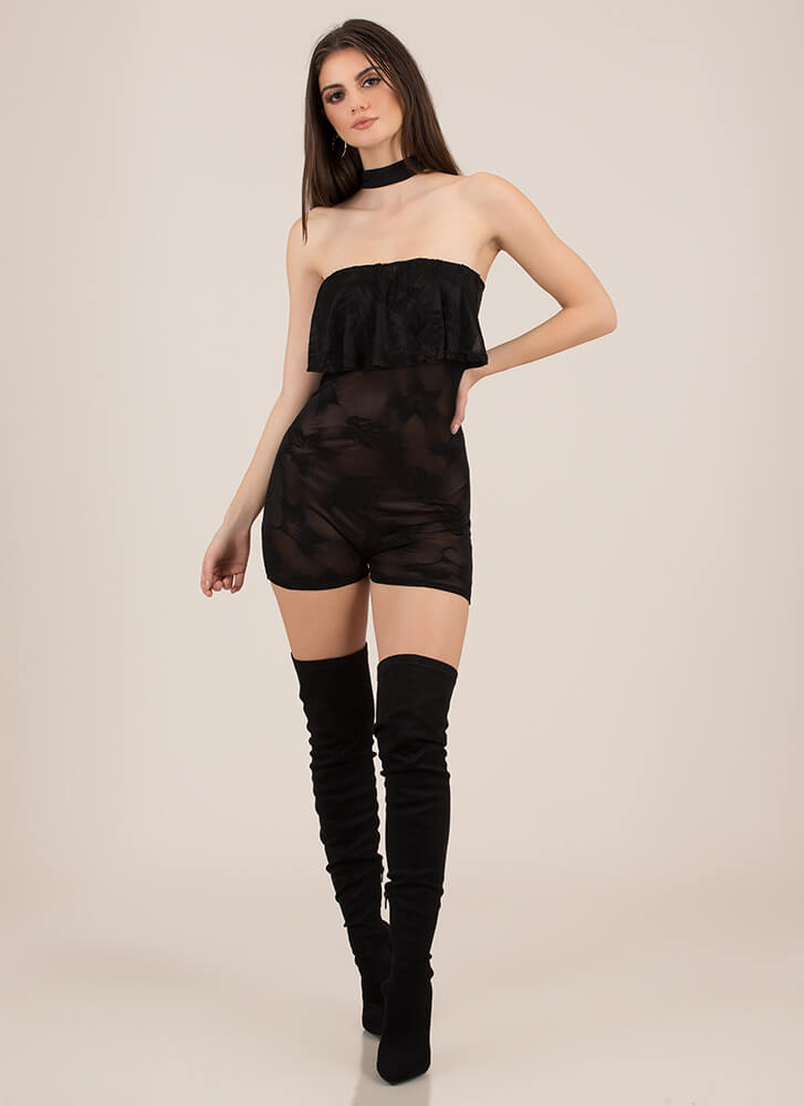 Don't Leaf Me Mesh Choker Romper BLACK