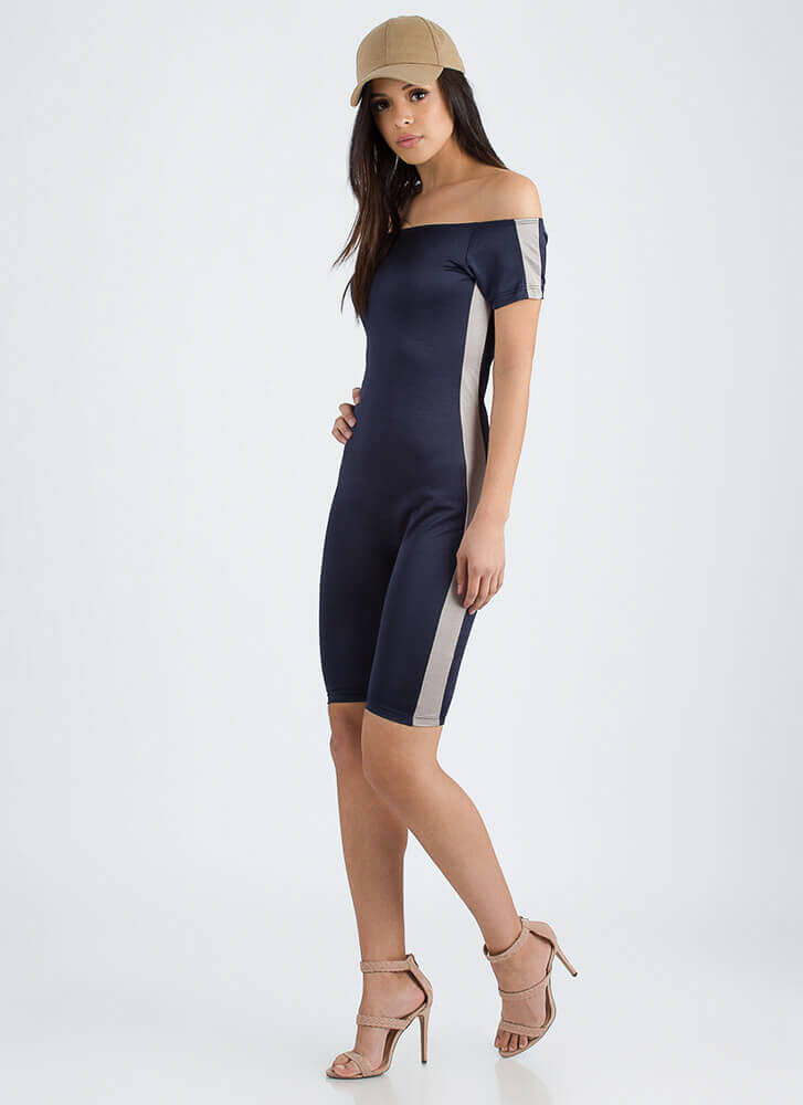 Let's Race Off-Shoulder Capri Jumpsuit NAVY