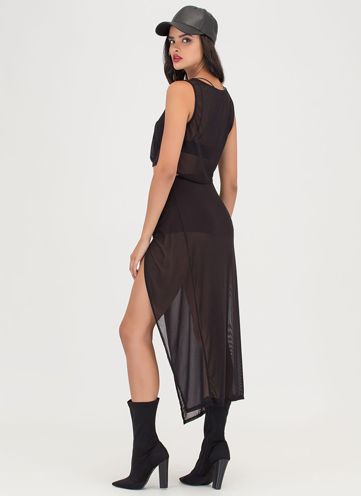 Tie The Knot Sheer Two-Piece Dress BLACK