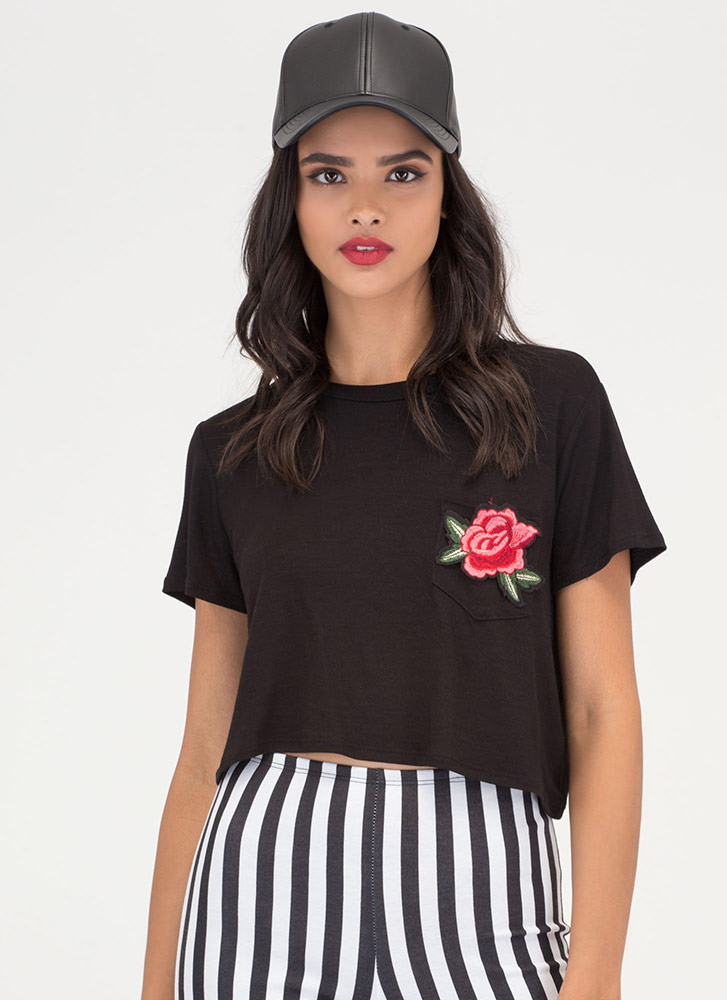 Single Blossom Embroidered Crop Tee BLACK