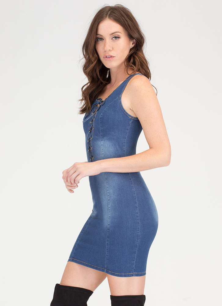 Casual Meeting Lace-Up Denim Dress BLUE