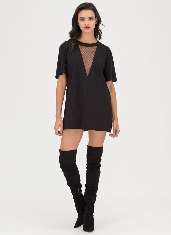 Net And Wild Distressed T-Shirt Dress BLACK