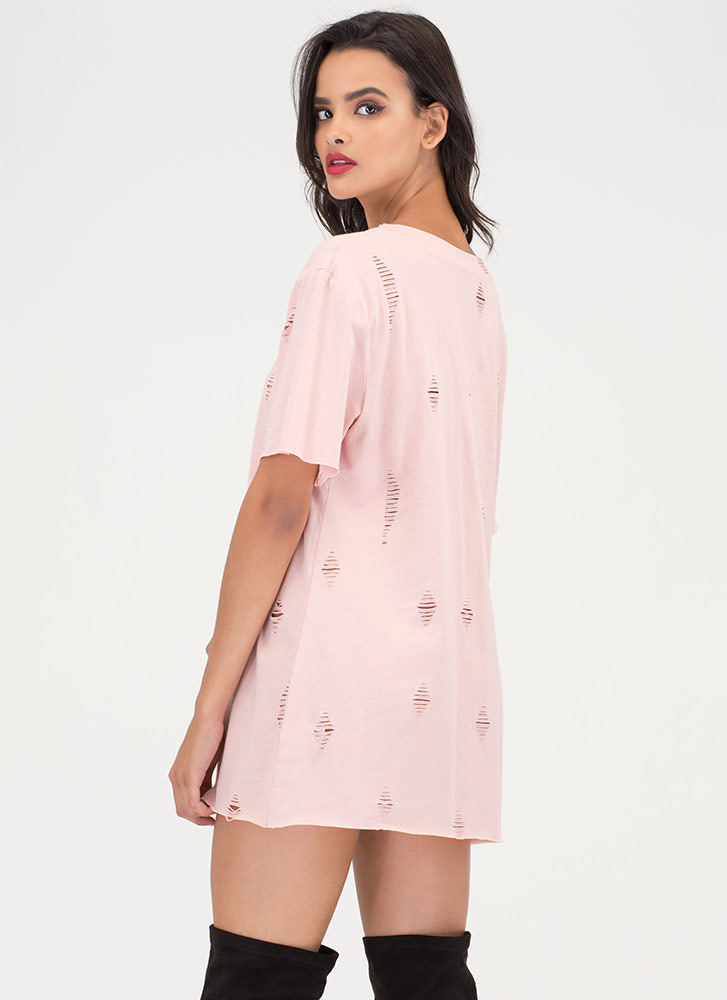 Net And Wild Distressed T-Shirt Dress MAUVE