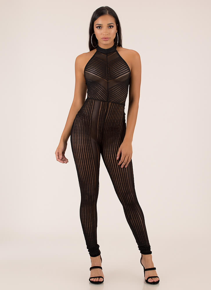 Sheer You Up Textured Choker Jumpsuit BLACK