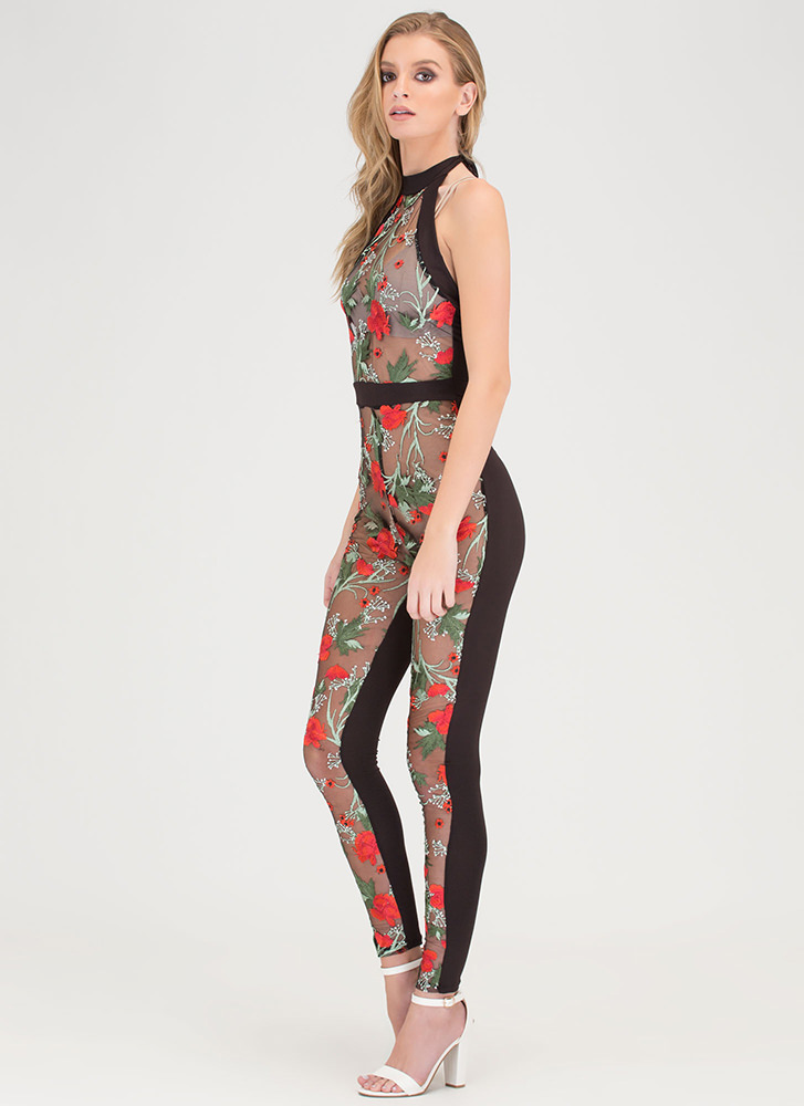 Fragrant Blooms Sheer Halter Jumpsuit BLACK
