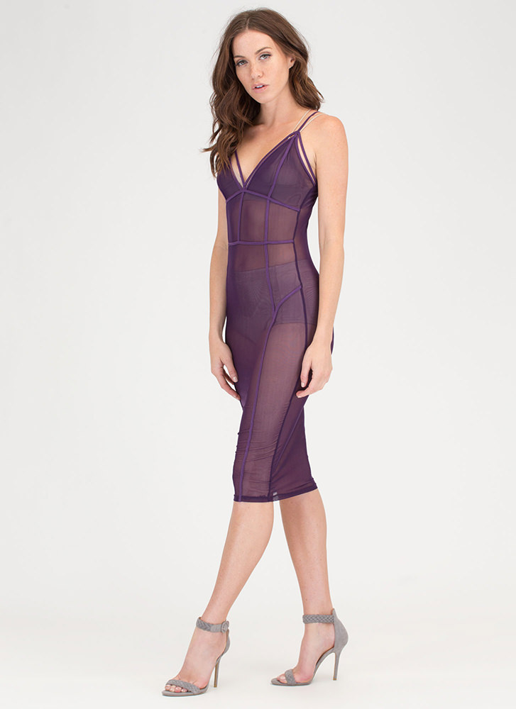 After Midnight Sheer Caged Bodycon Dress PLUM
