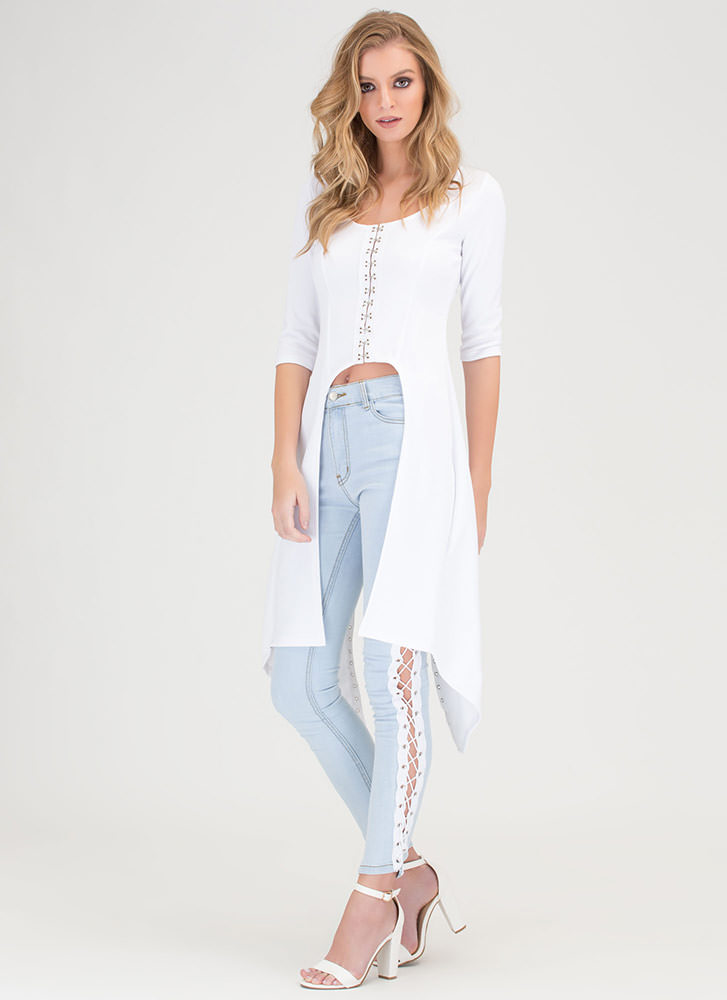 Style Superhero Lace-Up High-Low Top WHITE