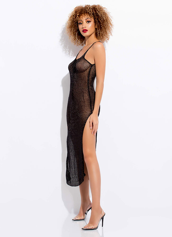 Knit You Up Shiny Lace-Up Maxi Dress BLACK