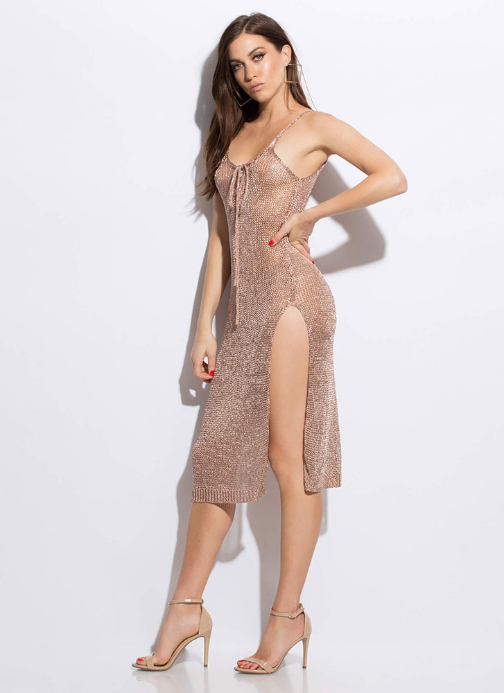 Knit You Up Shiny Lace-Up Maxi Dress ROSEGOLD