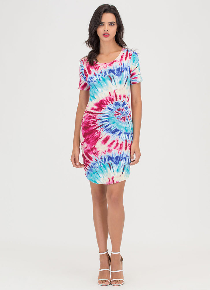 Island Chic Tie-Dye Mini Tee Dress FUCHSIABLUE