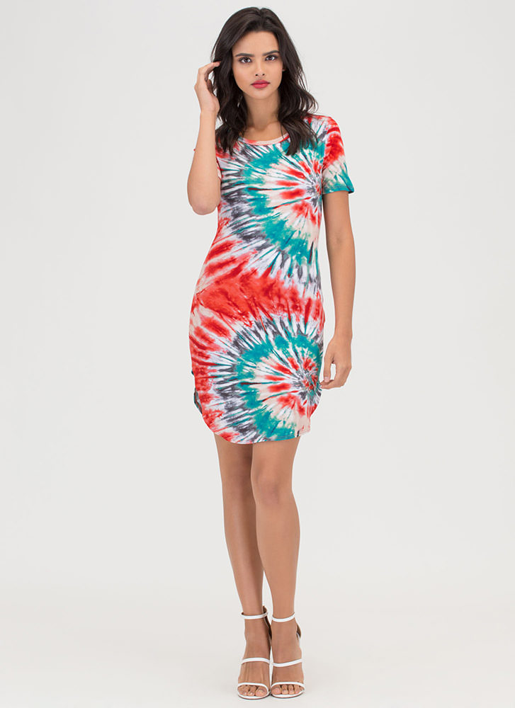 Island Chic Tie-Dye Mini Tee Dress ORANGETEAL