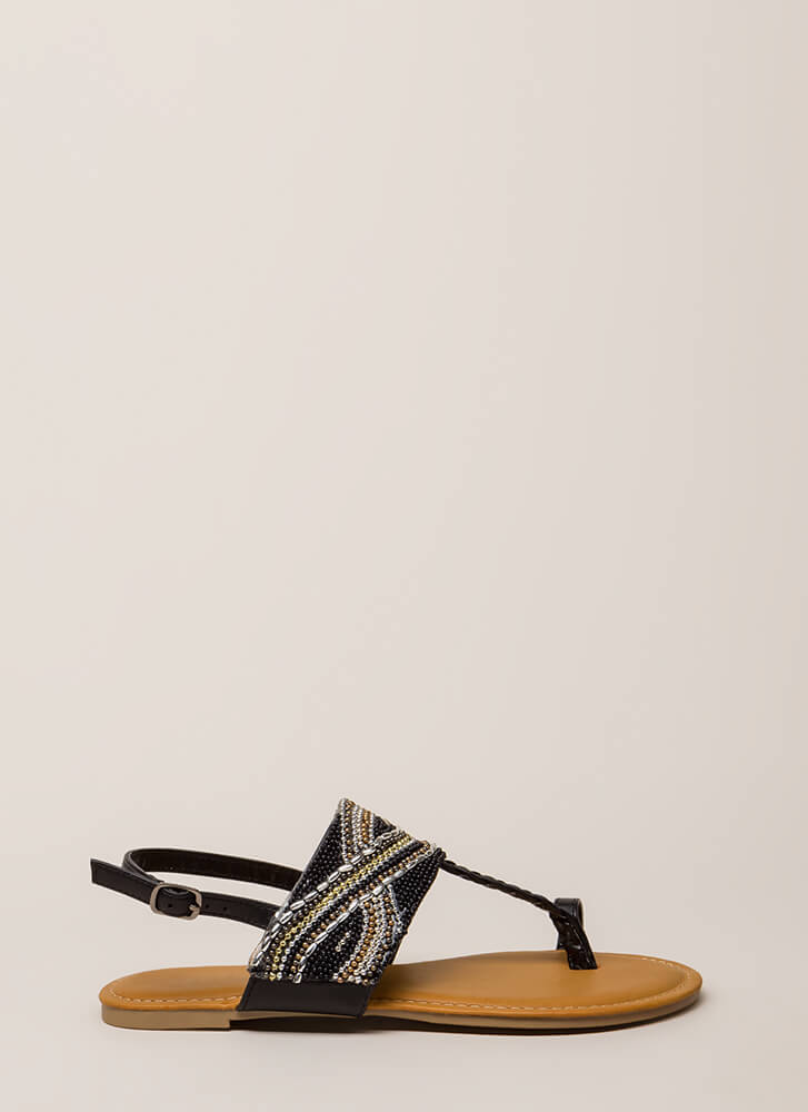 Glitz Everywhere Braided T-Strap Sandals BLACK