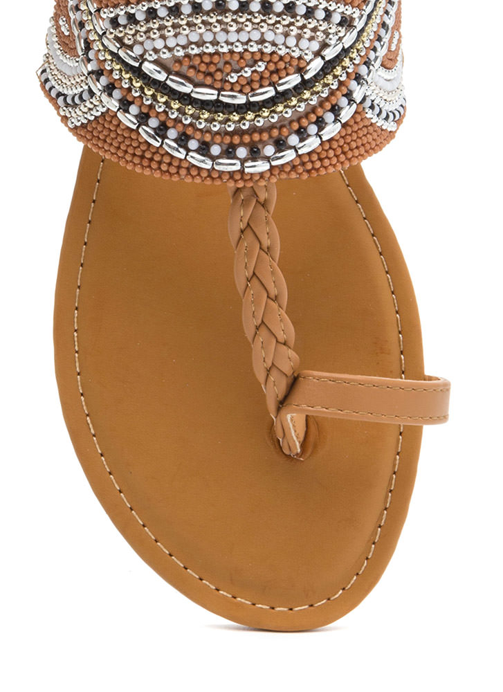 Glitz Everywhere Braided T-Strap Sandals NATURAL