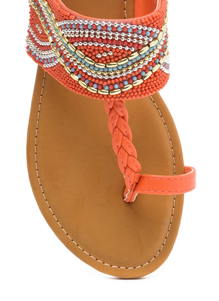 Glitz Everywhere Braided T-Strap Sandals ORANGE