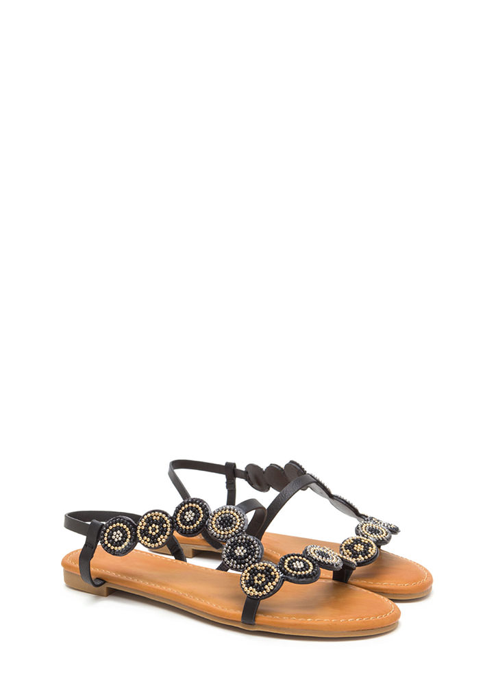 Circle Around Strappy Beaded Sandals BLACK