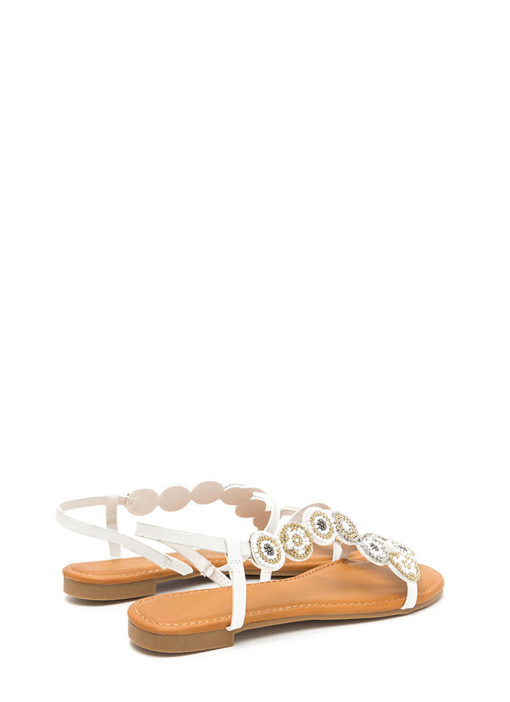 Circle Around Strappy Beaded Sandals WHITE