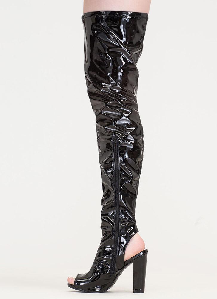 Polish Up Faux Patent Thigh-High Boots BLACK