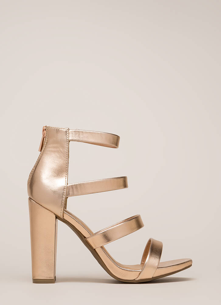 Fierce Style Caged Metallic Chunky Heels ROSEGOLD