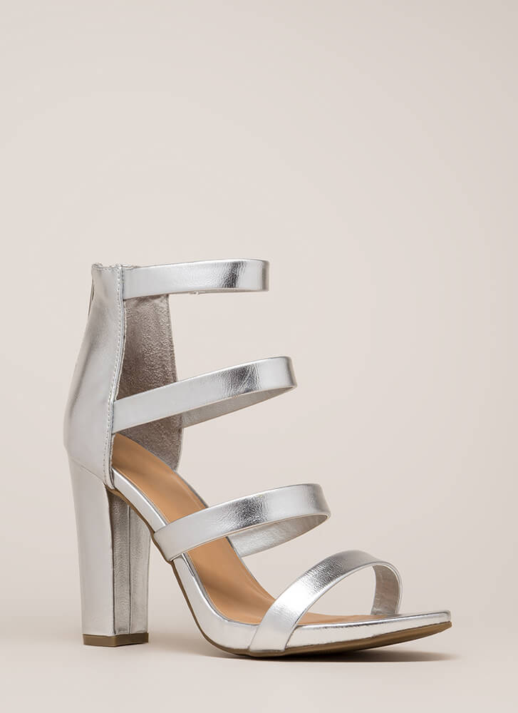 Fierce Style Caged Metallic Chunky Heels SILVER ROSEGOLD - GoJane.com