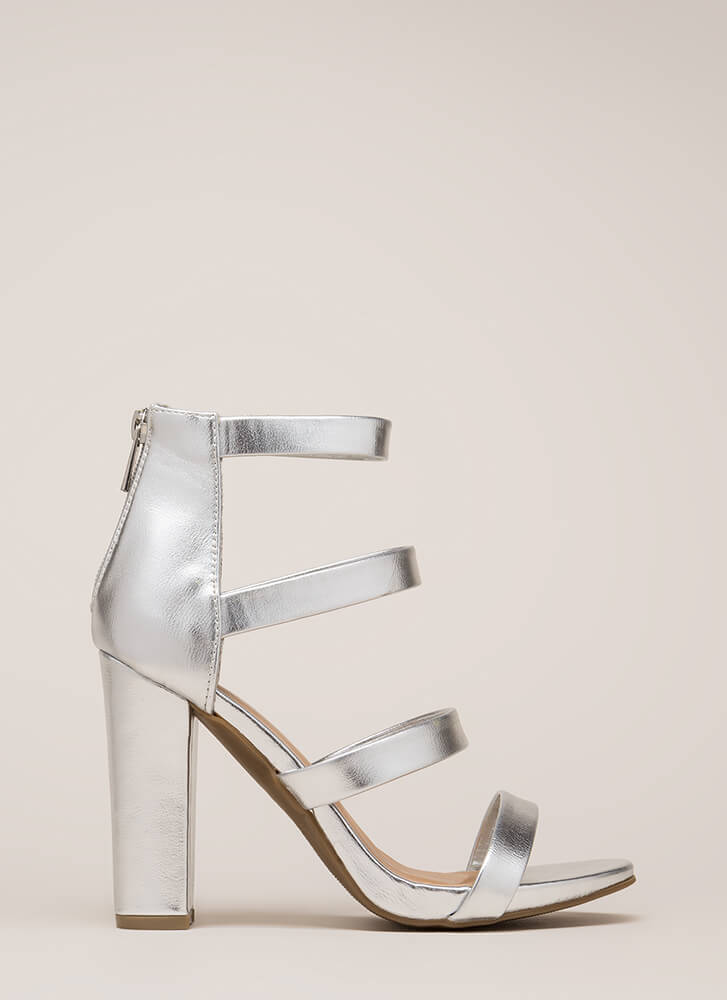 Fierce Style Caged Metallic Chunky Heels SILVER