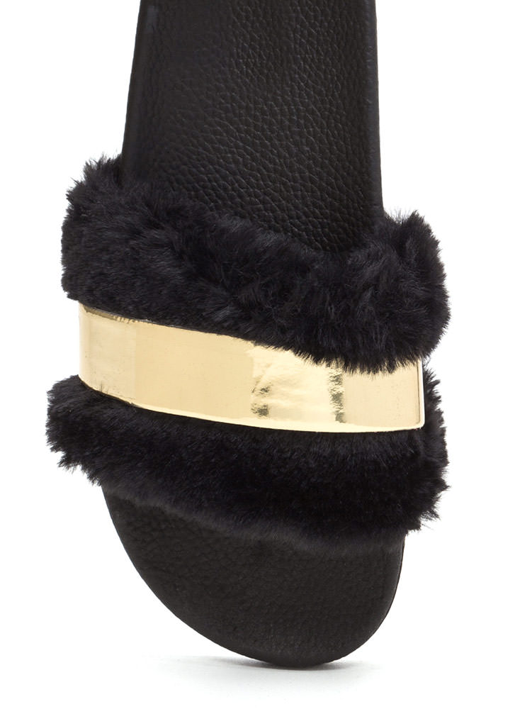 Fur The Best Metallic Slide Sandals GOLD