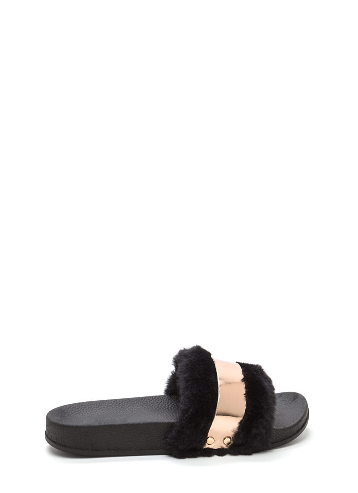 Fur The Best Metallic Slide Sandals ROSEGOLD