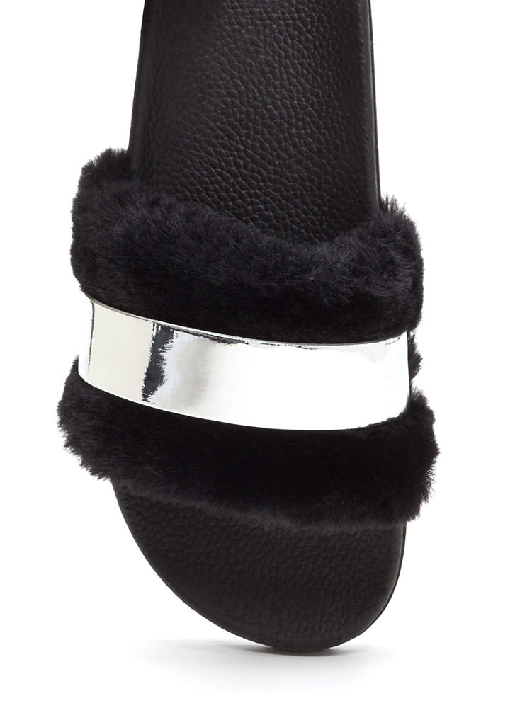 Fur The Best Metallic Slide Sandals SILVER