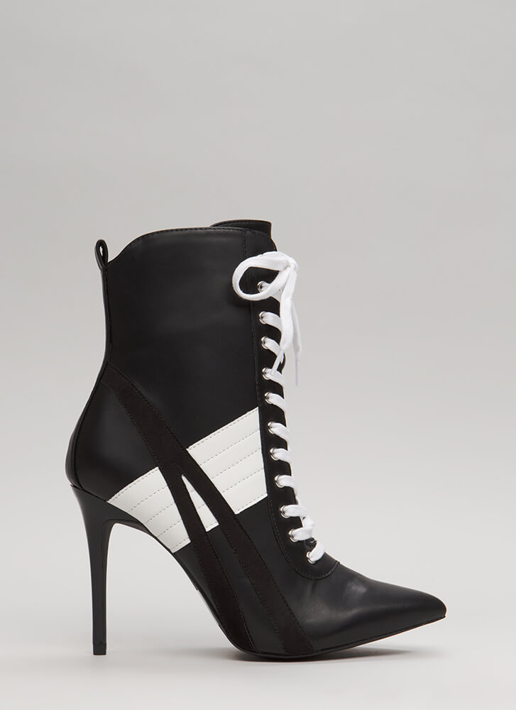 Learn The Lines Pointy Contrast Booties BLACK