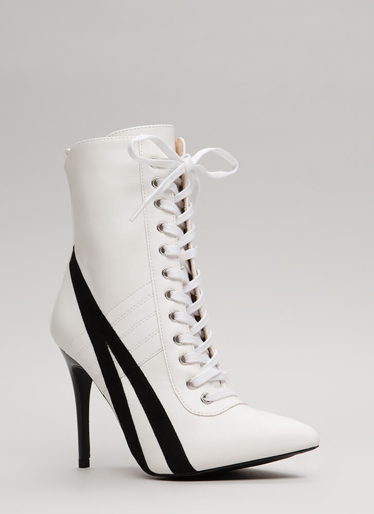 Learn The Lines Pointy Contrast Booties WHITE