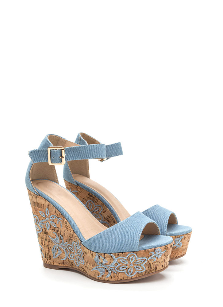 Bloom For More Denim Wedges LTDENIM