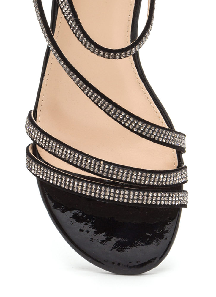 Bling It Up Strappy Faux Leather Heels BLACK (Final Sale)