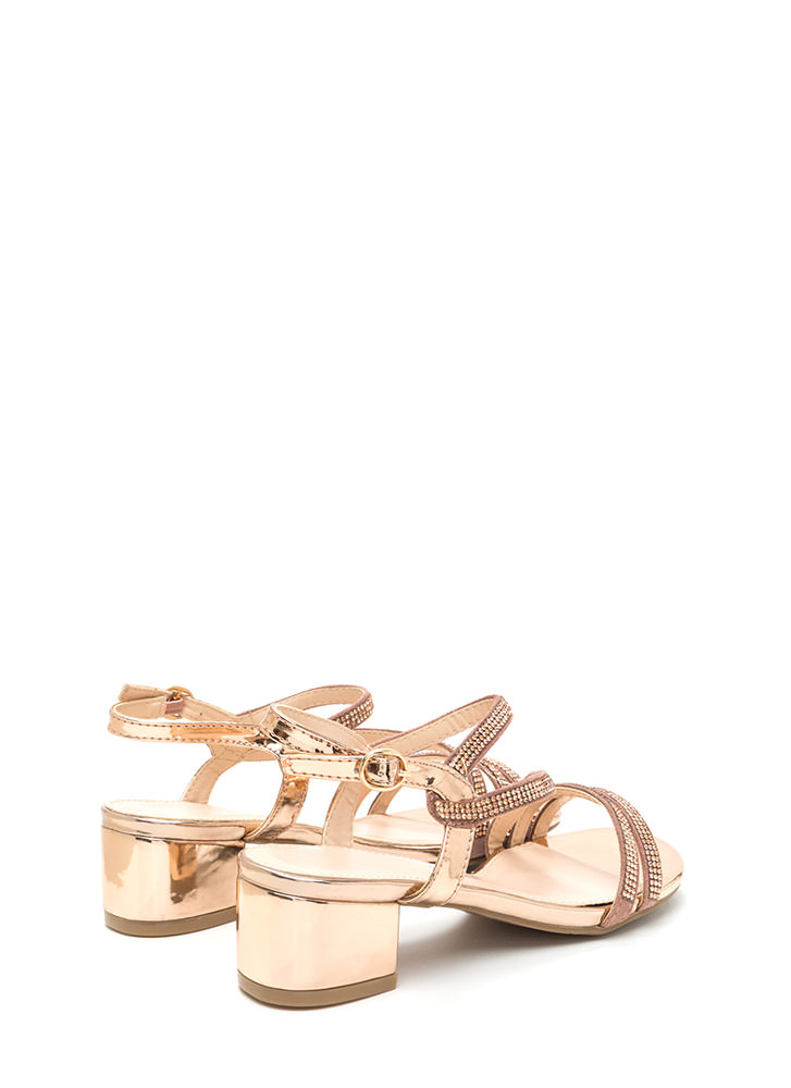 Bling It Up Strappy Metallic Heels ROSEGOLD